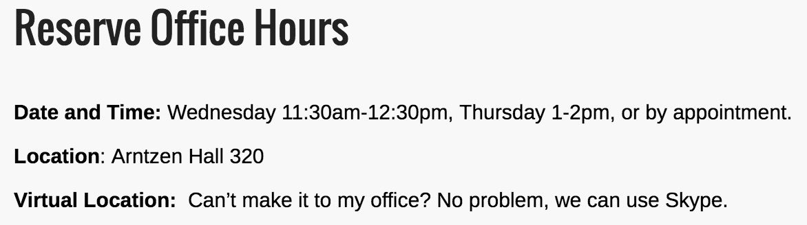 Reserve Office Hours